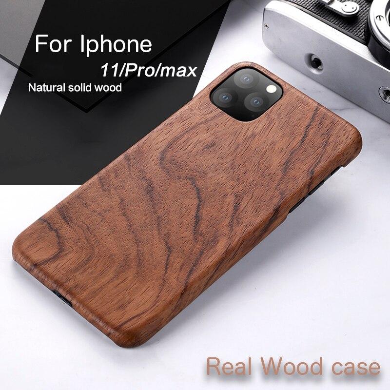 Funda de teléfono de madera Natural para IPHONE 11 PRO MAX cubierta de madera de hielo negra, nogal, Rosewood