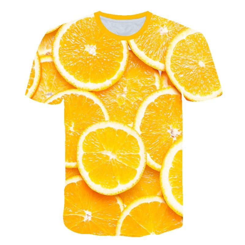 Limón diseño de frutas 3D camiseta para mujer impresa 2019 verano Tops para mujer para hombre Casual divertida Vogue camiseta estética de talla grande 5xl