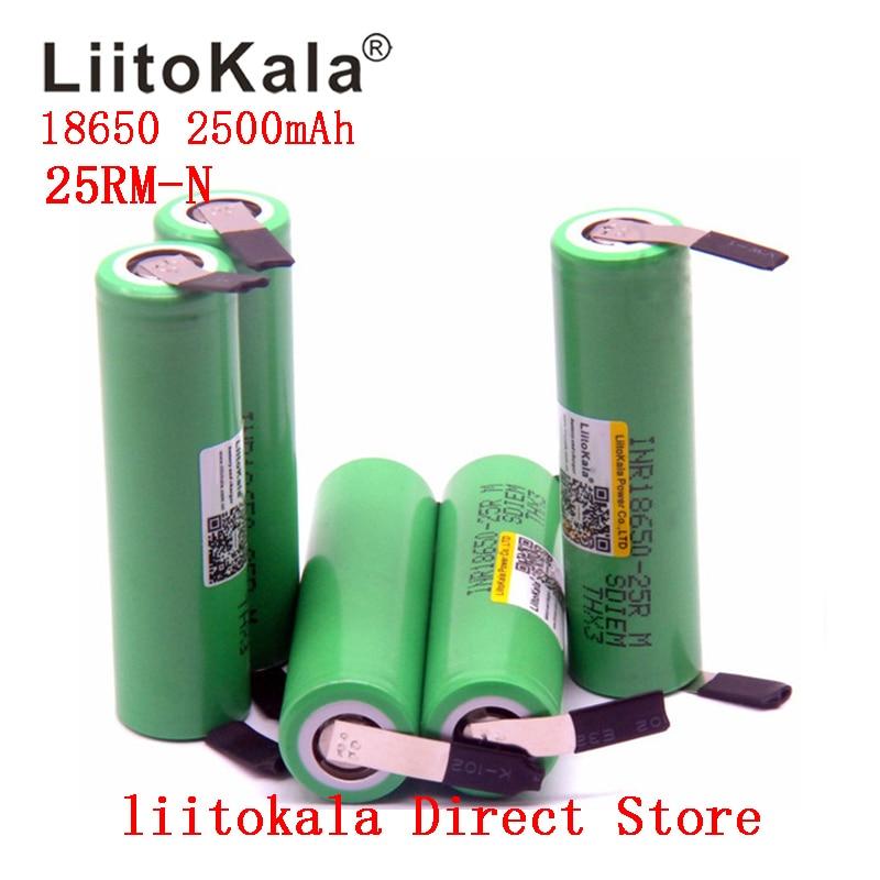 2019 nuevo 1-10 unids/lote liitokala original 18650 batería 2500mah INR18650 25RM 20A descarga de baterías de litio