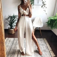 2 pieces suit set sexy v neck criss cross cropped cami top split wide leg pants long trousers summer outfits for women clothes