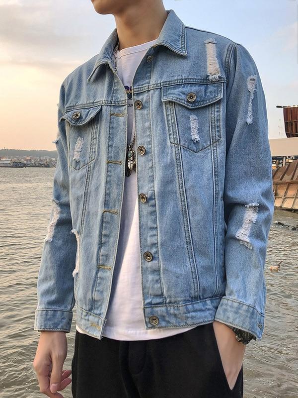 Мужская Осенняя рваная джинсовая куртка, Молодежные Красивые свободные куртки с лацканами, 2021