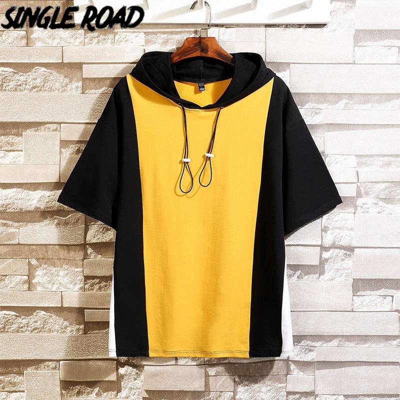 SingleRoad Man's Hooded T-shirt Men 2020 Oversized Patchwork Punk Hip Hop Japanese Streetwear Harajuku Tshirt Male T Shirt Men