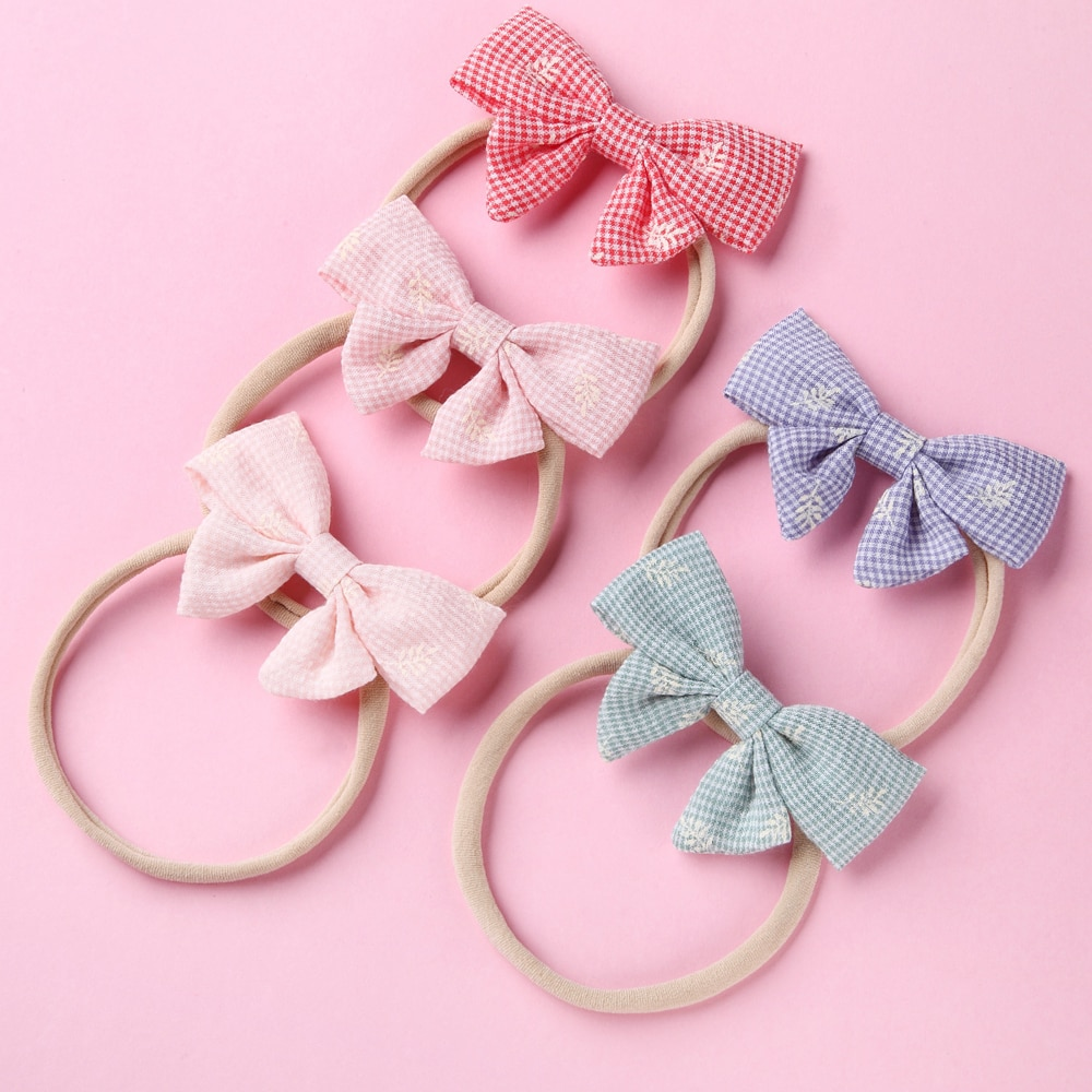Newborn Plaid Headbands Print Bows Baby Hair Bands For Girls Solid Toddler Accessories Kids Infant Childrens Headwear