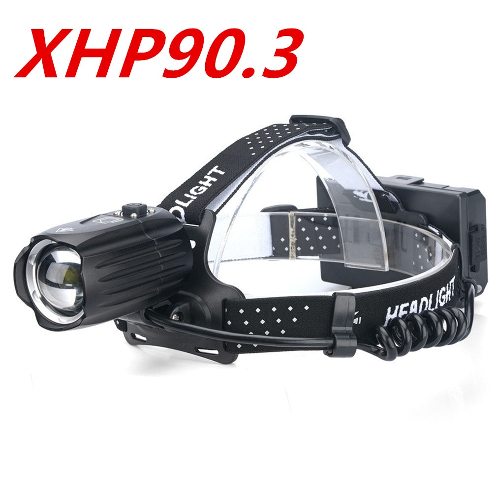 XHP90 Strong Headlight Flashlight USB Charging Input And Output Telescopic Zoom P90 Outdoor Lighting