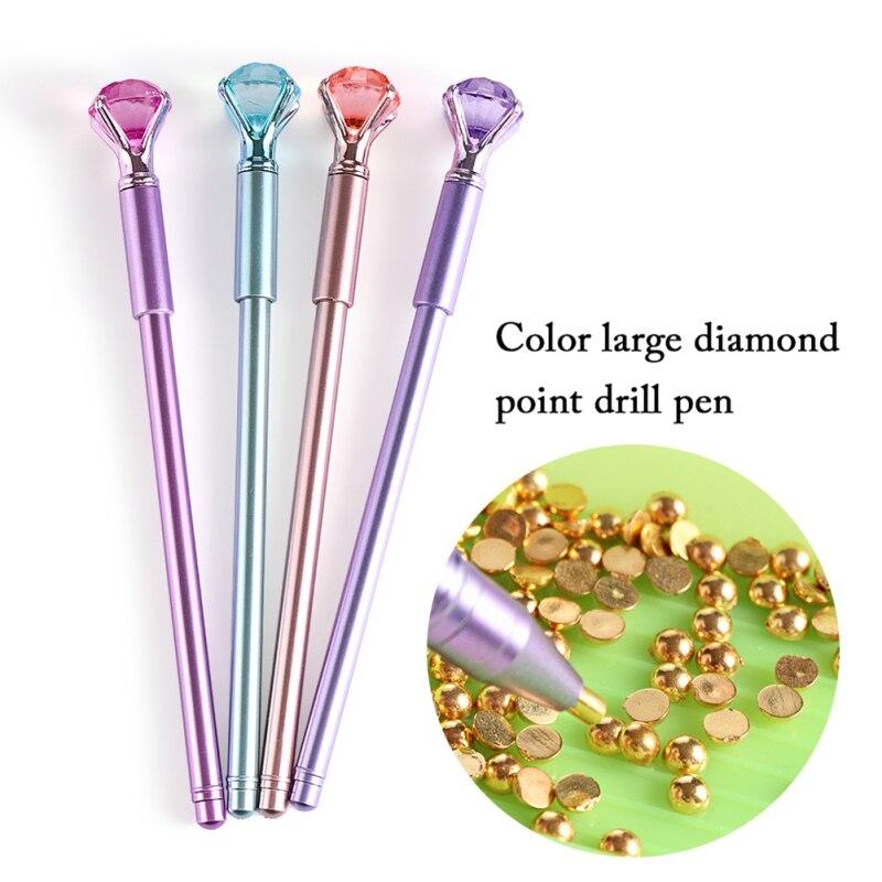 1 ud. Bolígrafo de punto de cruz de silicona de plástico para manualidades, bolígrafo de punto de perforación 5D con bordado de diamantes, bolígrafos de cristal, Artículos y accesorios para costura