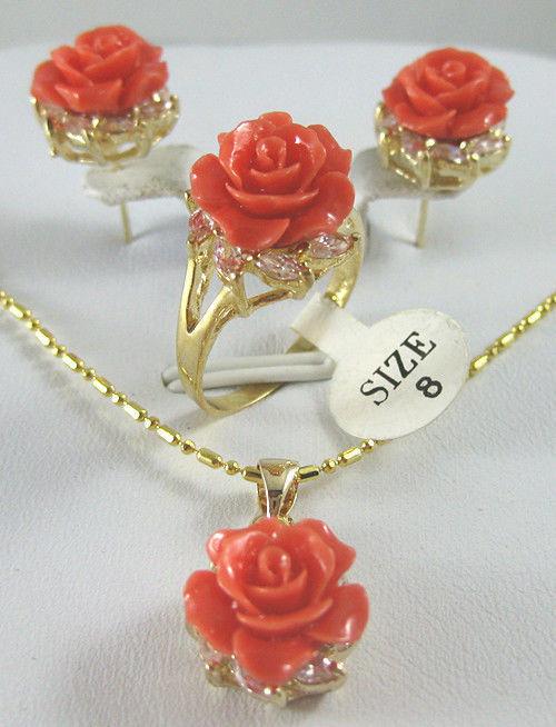12MM Coral Rosa tallado flor pendientes anillo COLLAR COLGANTE