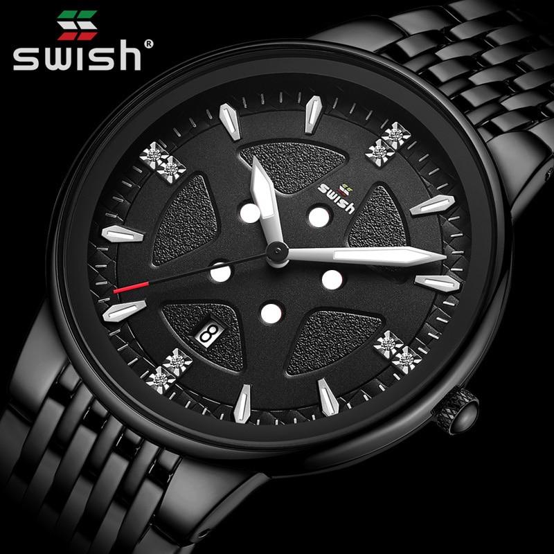 SWISH Mens Watches Top Luxury Brand Business Black Watch Men Full Steel Waterproof Analog Quartz Wristwatch Relojes Hombre 2020