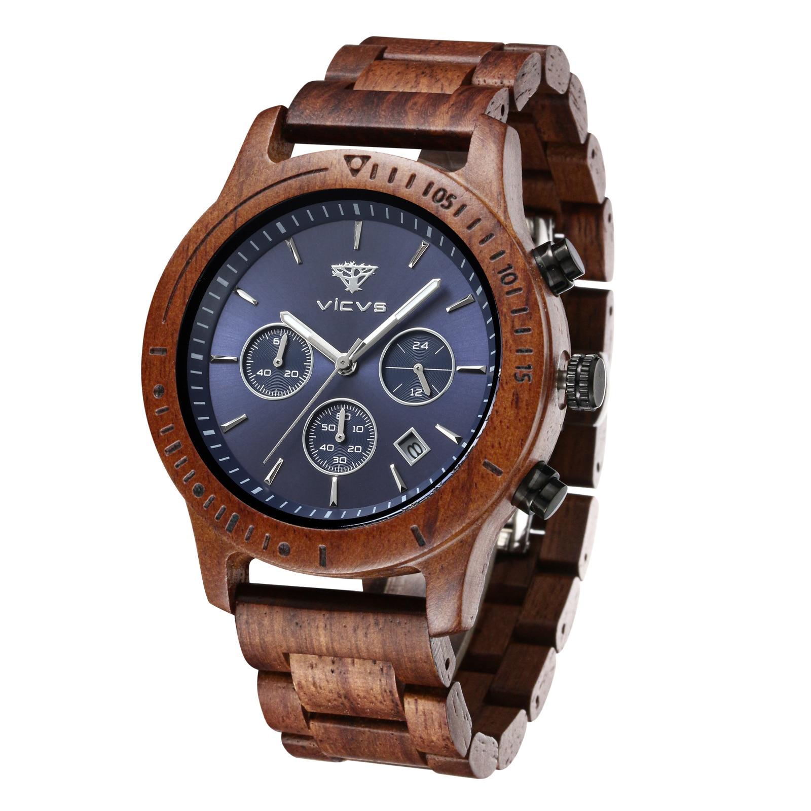 Men's Watch 2021 High-end Fashion Explosive Wood Watch Chronograph Calendar Watch Rosewood Walnut Qu