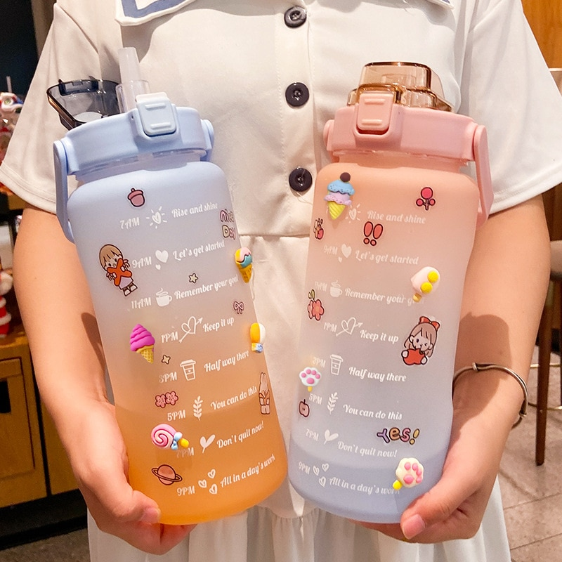 Stickers Water Bottle with Straw 2000ml Cute Portable Scale Bottle for Water Outdoor Travel Kettle f