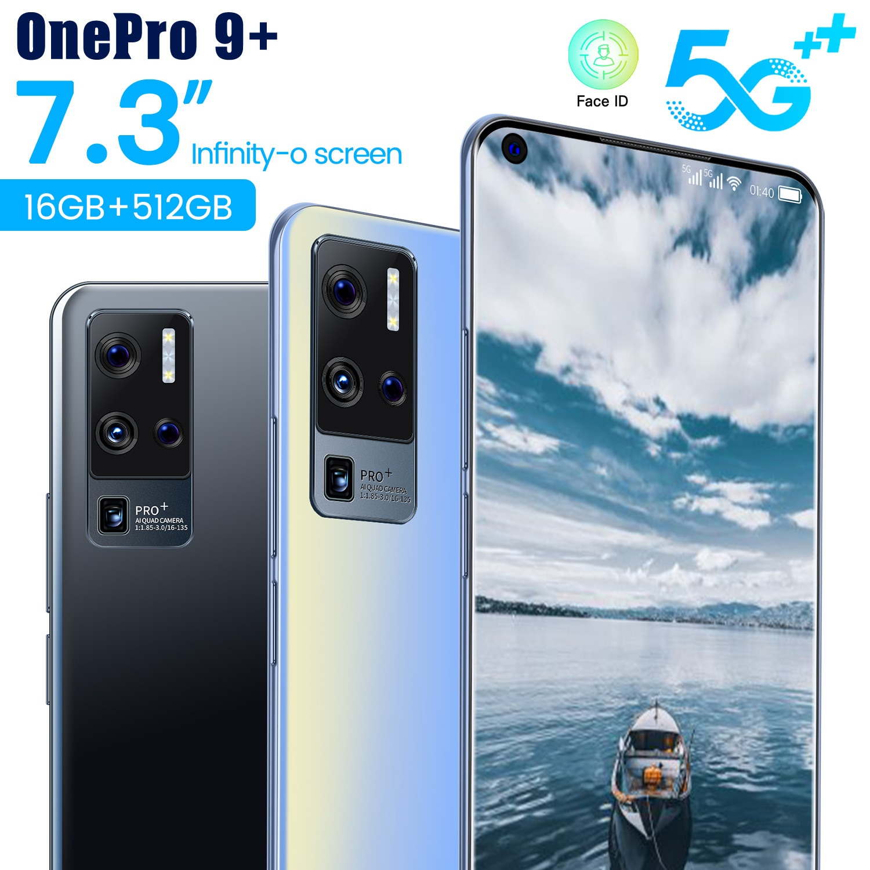 هاتف ذكي جديد OnePro موديل عالمي 9 + 5G مع كاميرا 64MP وشاشة 7.3 بوصة عالية الدقة Android11 16G 512G MTK6889 + Deca Core هاتف محمول