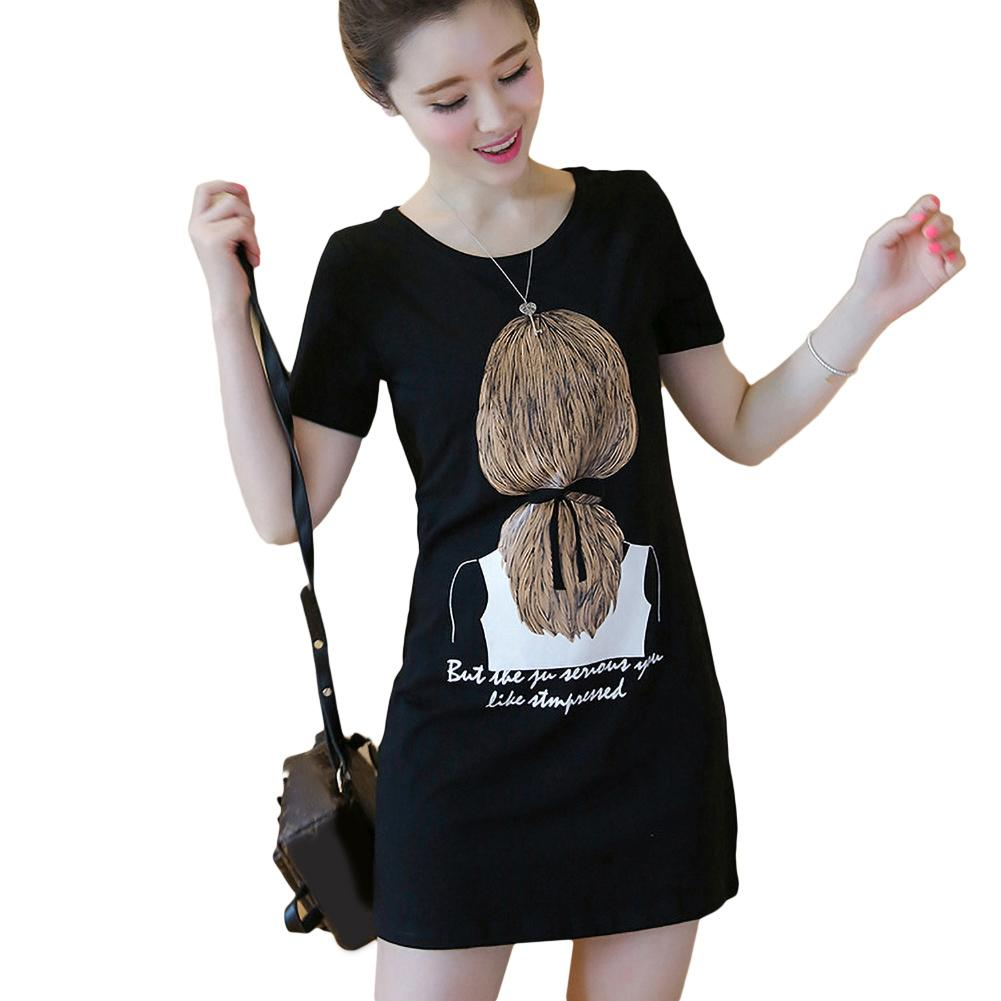 dress summer 2020 Casual Women Breathable Short Sleeve Round Neck Long T-shirt Blouse Mini Dress Women Casual dress Sundress