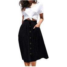 2019 Vintage femmes jupe mode a-ligne Midi jupe élastique taille haute couleur unie avant bouton décontracté jupe plissée avec poche