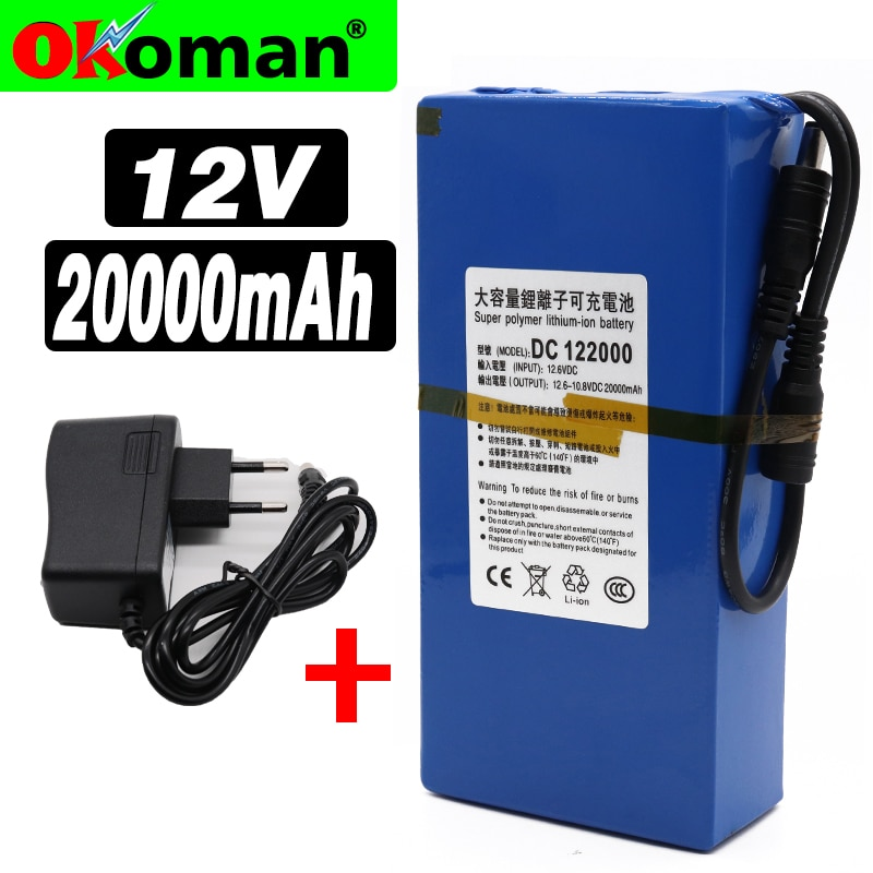 Высокое качество супер перезаряжаемый портативный литий-ионный аккумулятор DC 12V 20000mAh с штепсельной вилкой ЕС 12,6 v 20Ah аккумулятор + зарядное устройство
