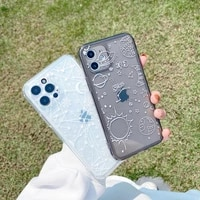 cute cartoon line star space moon phone case for iphone 11 pro max xs xr x 12 mini 7 8 plus clear soft tpu shockproof back cover