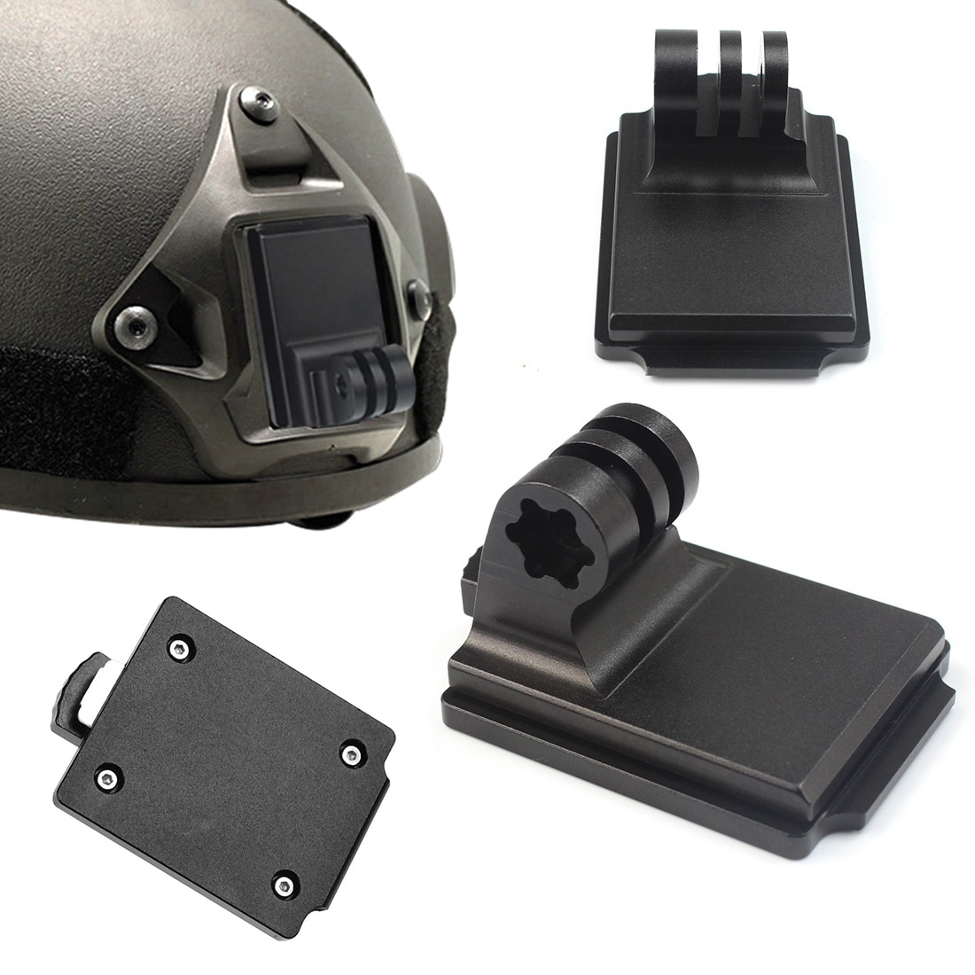 Aluminum Helmet Fixed Mount NVG Base Holder Adapter for GOPRO Hero 7 4 5 6 Session yi Sjcam EKEN Action Video Sports Cameras