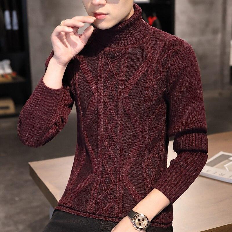 2020 осенние и зимние Новые мужские с высоким воротом свитер в Корейском стиле тонкий красивый Молодежные Повседневные вязаные свитера