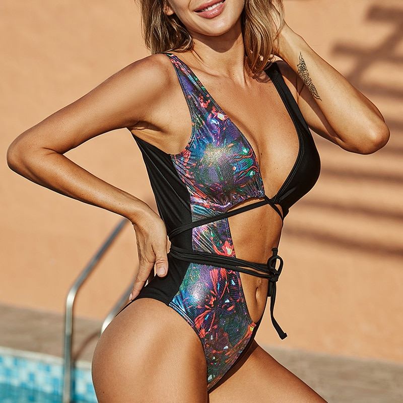 In-X Bandage snakeskin monokini Hollow out one piece swimsuit women Bandeau bathing suit Backless bodysuit largesize swim suit