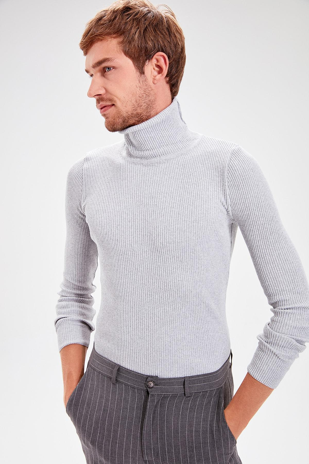 Trendyol Gray Male Rubber Mesh Turtleneck Sweater Sweater TMNAW20MG0031