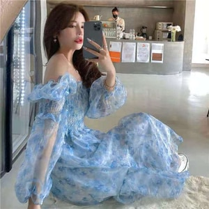 Evening Party Floral Dresses Women Lantern Sleeve Midi Elegant Vintage Dress Female Sweet 2021 Summer One Piece Dress Korean