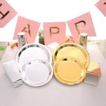 Platos de fiesta de cumpleaños decoraciones de boda Set de vajilla de papel desechable de oro y plata