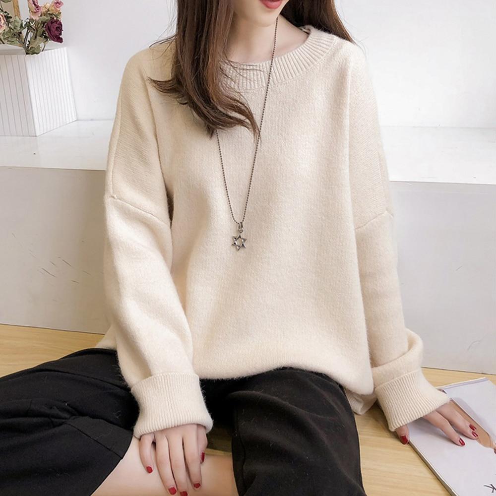 Nieuwe Trui Vrouwen Losse Effen Kleur Winter Dieptepunt Shirts Koreaanse Fashion Herfst Dames Tops Alle-Wedstrijd Casual Kleding Vrouwelijke
