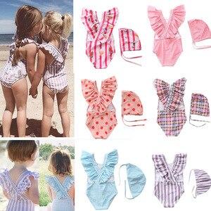 2~8Y Toddler Baby Girls Swimwear one piece Girls Swimsuit with Hat Children Swimwear Kids Beach wear Girls Bathing suit-SW463