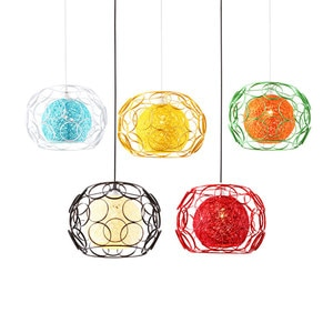 Southeast Asia Iron cage Sepak takraw pendant lights colorful dining room suspension lamp cafe kids bedroom led hanging fixtures