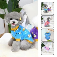 elastic lovely fashion pet dog short sleeve shirt outfit skin friendly pet clothes round neck for medium small dogs