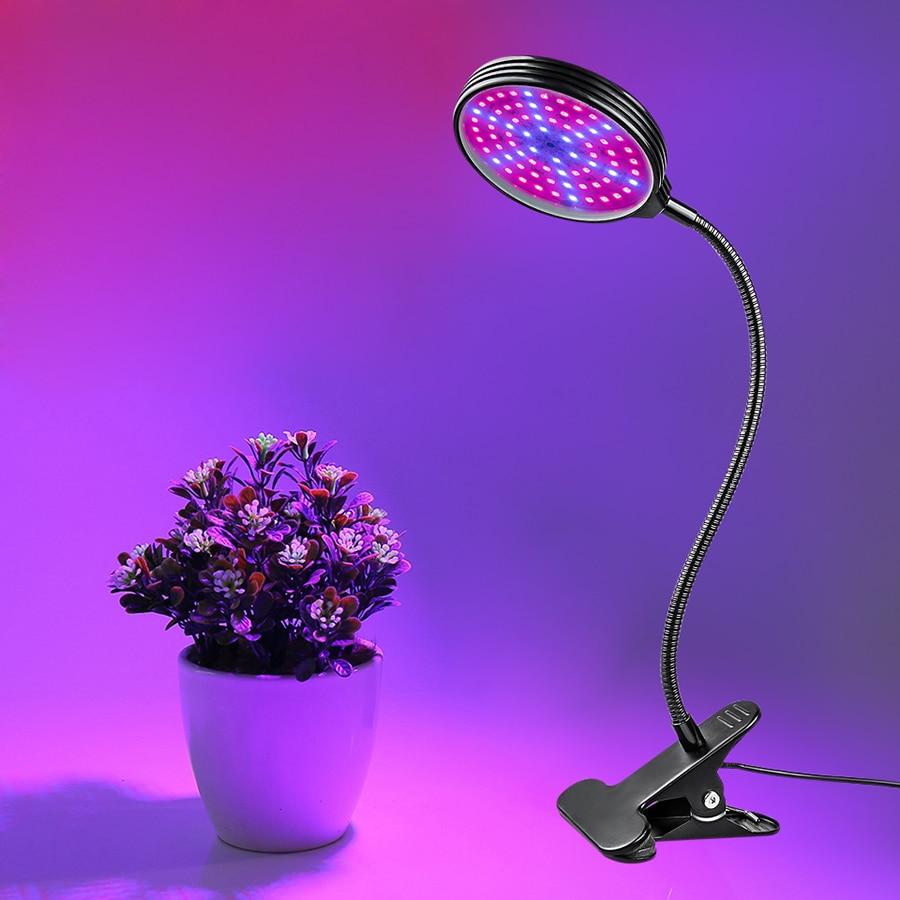 LED Grow lámpara de espectro completo Fitolampy USB oscurecimiento planta Grow Clip de luz Fito lámpara temporizador para plantas de plantas vegetales de interior