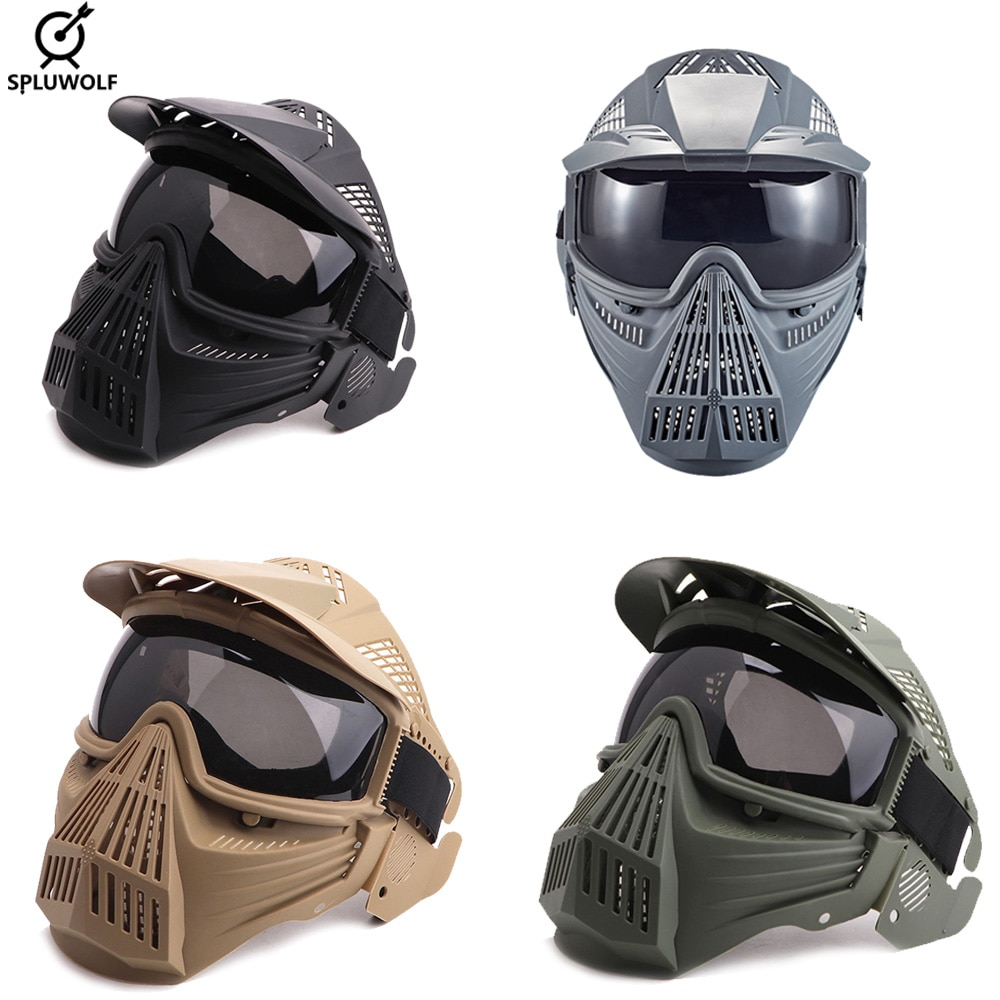 Full Face Protection Safety Goggles Mask with PC Lens Military Tactical Airsoft   Paintball Mask Helmet airsoft paintball tactical helmet protective fast helmet abs tactical mask with goggles cs equipment