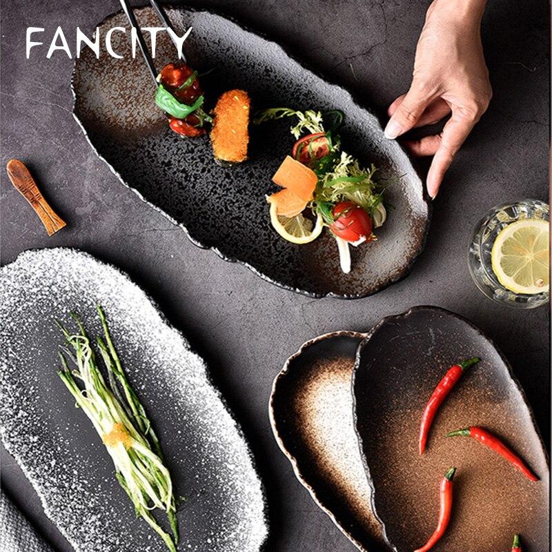 أطباق سيراميك بيضاوية ، أطباق صخر ، أطباق منزلية كبيرة مسطحة ، أطباق غير منتظمة في المطاعم