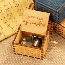 Retro Carved Wood Manual Music Box Hand Cranked Kids Birthday Theme Music Box Birthday Gift Christma