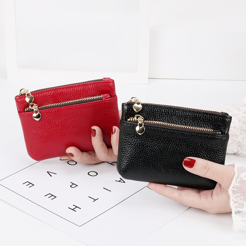 AliExpress - 2021 New Leather Coin Purse Women Mini Change Purses Kids Coin Pocket Wallets Key Chain Holder Zipper Pouch Card Holder Wallet