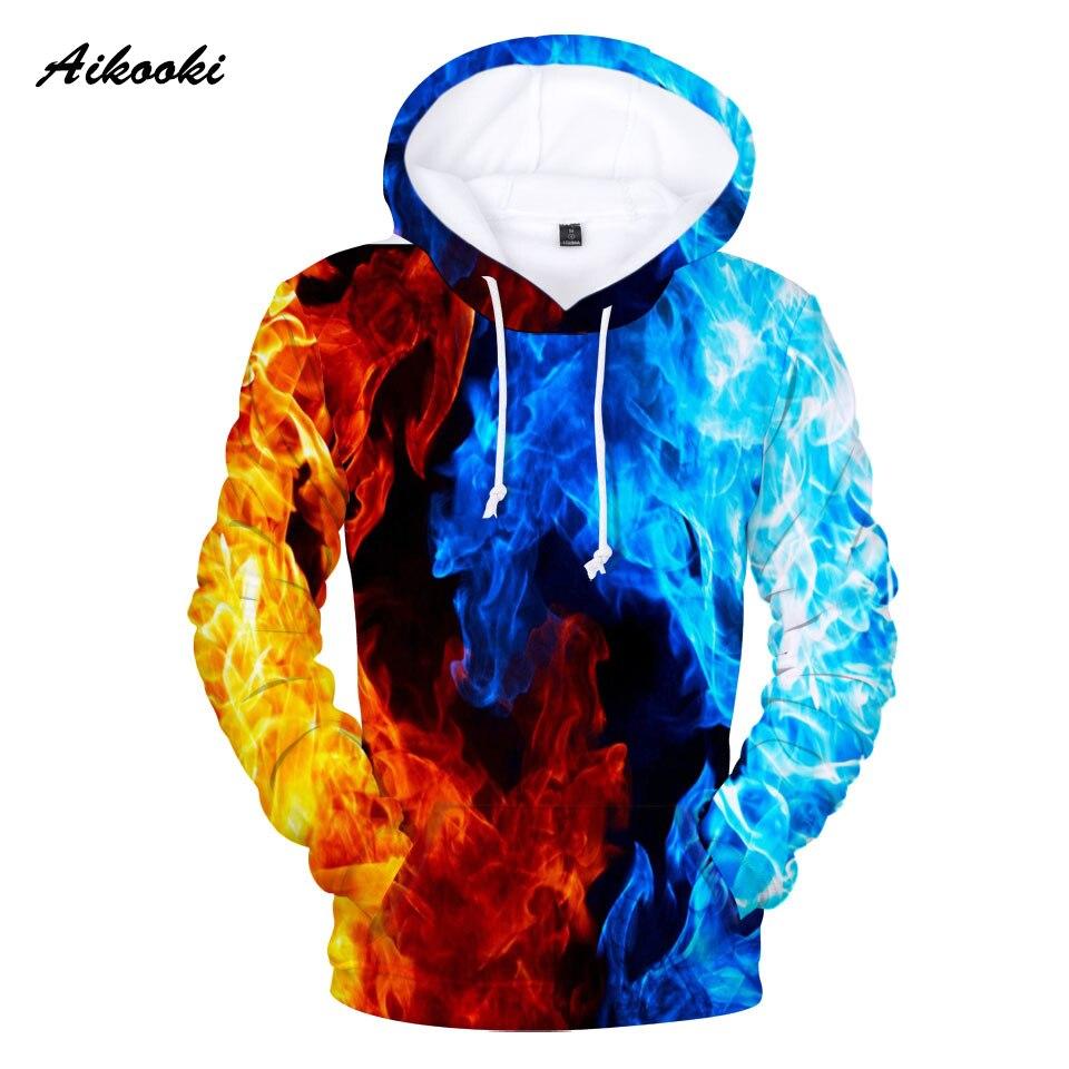Sudaderas con capucha de fuego amarillo y azul para hombres sudaderas para niños/niñas CON CAPUCHA DE FUEGO amarillo y azul para niños invierno con capucha delgada Sudadera con capucha 3D
