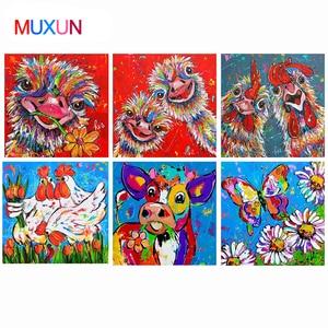 Картина с бриллиантами цвет курица страуса бабочка изображение полного бриллианта вышивка-мозаика стразами воды цвет украшения Ep047
