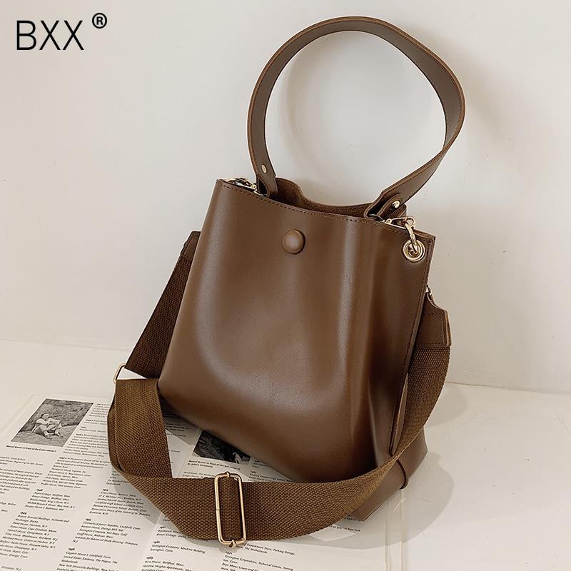 [BXX] Luxury Brand Handbags 2021 Spring Women's New Fashion PU Leather Shoulder Bag Ladies Travel High Capacity Bucket Bag HQ446