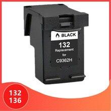Noir pour hp 132 136 cartouche dencre pour hp 132 pour hp 136 Photosmart 2573 C3183 1513 Officejet 6213 5443 D4163 pcs1513 imprimante