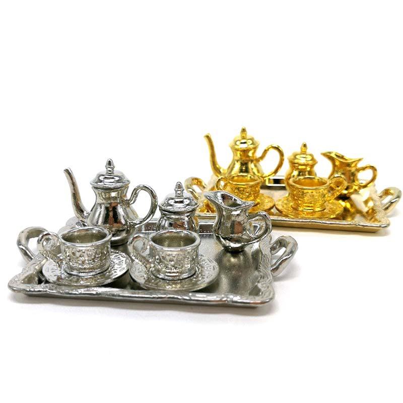 10Pcs/set Doll House Miniature Metal Tea Doll House Furniture Miniature Dining Tableware Toy Teapot Cup Plate
