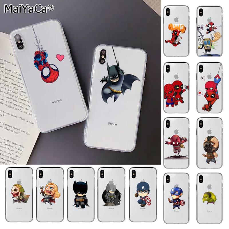 MaiYaCa Marvel Spiderman Joker Catwoman Batman Deadpool funda para teléfono para iphone SE 2020 11 pro XS MAX 8 7 6 6S Plus X 5 5S SE XR