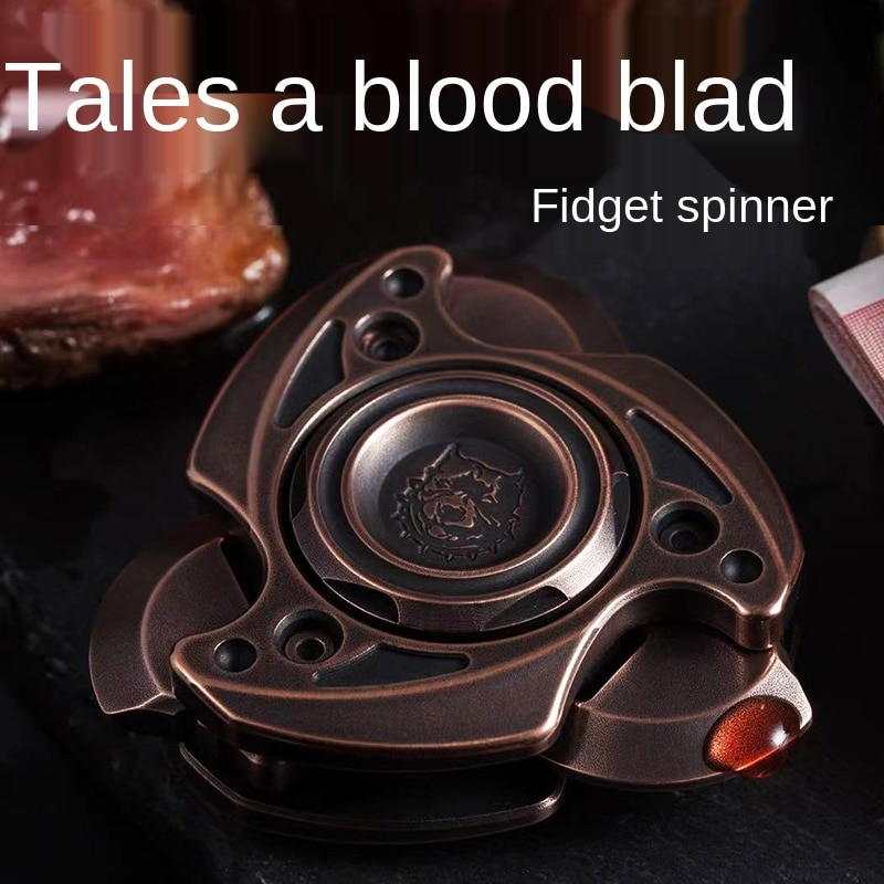 Kts Unknown Blood Blade Fingertip Gyro Opening and Closing Rotating Zirconium Alloy Decompression Toy Black Technology Metal EDC