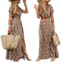 50 hot 2021 summer sexy bohemian print halter dress v neck short sleeved party ladys belt hem beach long dress