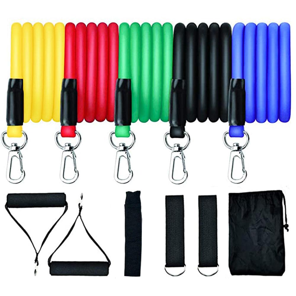 Juego de bandas de resistencia para ejercicio apilables hasta 100 lbs, para entrenamiento en interiores, 5 Cordones elásticos, manijas de anclaje de puerta, correas de tobillo