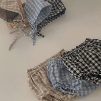 2pcs summer baby boy girl pp shorts 2021 casual children bloomers toddler infant plaid print short pants outfit kids clothes set