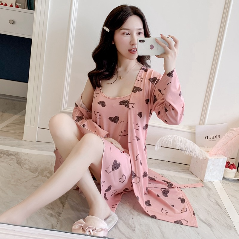 2PCS Sexy Lingerie Nightgowns Robes Sets Women 2020 Summer Print Bathrobe Sleepwear Suit Nightdress Night Dress Home Gown Nighty