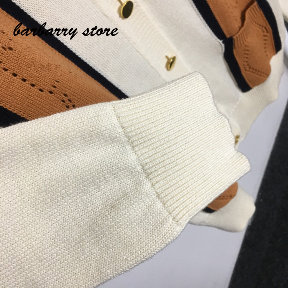 luxury brand color blocking pattern hollow out printing fashion women's top style versatile V-Neck long sleeve knitted cardigan enlarge
