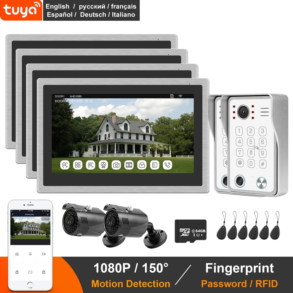 WIFI Video Doorbell Intercom TUYA Smart Video Door Phone System 10 Inch Touch Monitor With Fingerprint Unlock Motion Detection