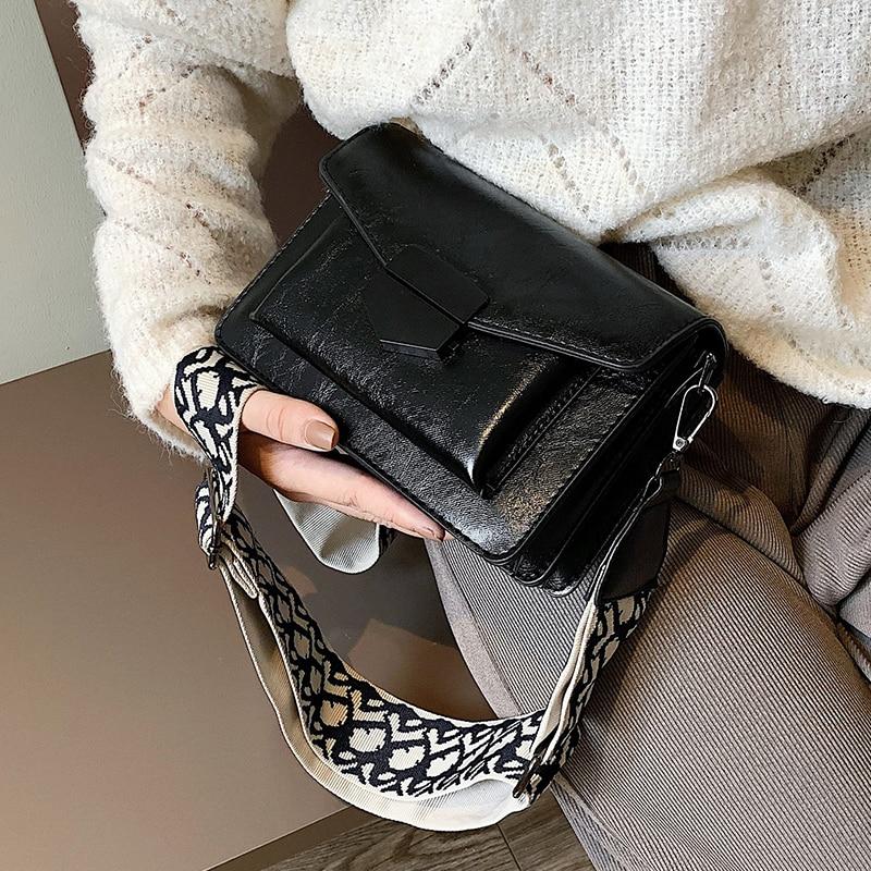 Bolsos de mensajero con solapa Casual bolsos de hombro sólidos para mujer moda salvaje atmósfera bolso bandolera ancho