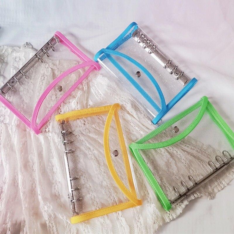 2020 Original A6 Rosa PVC transparente cuaderno cubierta hoja suelta BinderDiary planificador proteger Shell escuela Oficina papelería