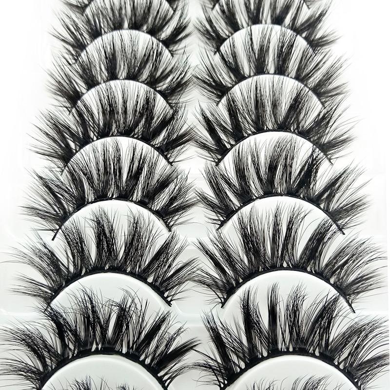 Long Natural Mink Hair Lashes 6D False Eyelashes Eye Extension Tool Women Beauty Wispies Fluffy Eye