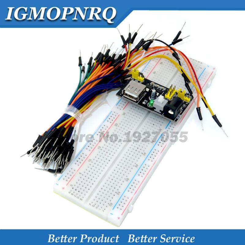 MB102 макетная плата модуль + MB-102 830 точек без Solderless Прототип хлебопечки комплект + 65 гибких проводов Бесплатная доставка